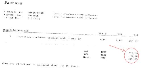 Factura por 789€, además sin IVA