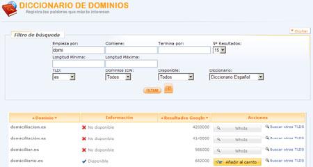 Diccionario de dominios