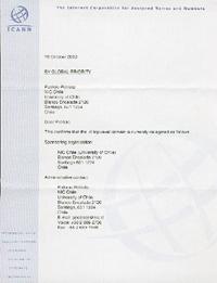 Documento de delegación de los dominios de Chile, página 1